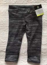 New Girls Stretch Capri Yoga Pants Size XS 4/5 Gray & Black