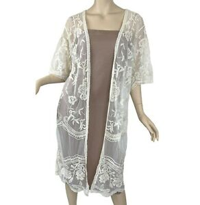 Ember Women's Kimono Coverup Open Front Cardigan Sheer Floral Lace Beige Large