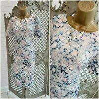 MARKS & SPENCER 💋 Pastel Petal Print Stretch Wiggle Pencil Dress UK 14 Summer