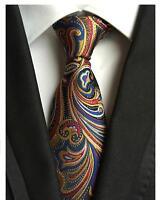 Tie Blue Red Yellow Patterned Handmade 100% Silk 8cm Wedding Necktie 8cm Width