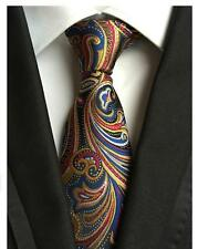 Blue, Red and Yellow Patterned Handmade 100% Silk Tie