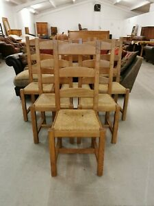 6 x Solid Beech & Rush Ladder Back Dining Chairs *Collection Only*