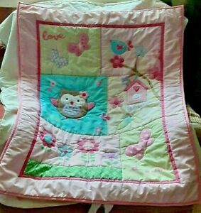 Garanimals Pink Girls Crib Comforter Blanket Owl Butterfly Home Wish Dream Bird