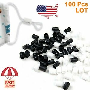 OUTLAND 200 PCS Cord Locks for Mask Ear Adjuster Silicone Toggles for Drawstrings Adjustable PVC Buckle Round Connectors End Elastic Mask Cord Non Slip Stopper DIY for Adults Children with Clips 200