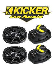 "4) New Kicker 41DSC6934 D-Series 6x9"" 720 Watt 3-Way Car Audio Coaxial Speakers"