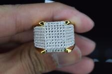 Mens Brass 14k Yellow Gold Finish Hip Hop Fully Iced Band Pinky Ring Size 12
