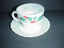 Termocrisa Milk Glass Cup Saucer Red Berry Green Holy