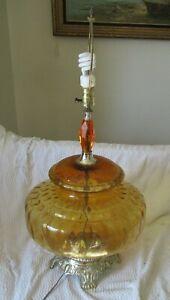 1975 Crystal Novelty Mid Century Hollywood Regency Amber Genie Glass Table Lamp