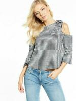 V by Very Gingham Bow Cold Shoulder Top