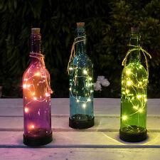 3 VERRE à Énergie Solaire Extérieur Jardin Patio Table Bouteille Summer Party Lumières DEL