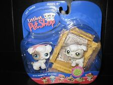 NEW 2006 Littlest Pet Shop White & Gray Poodle Dog Puppies #203, 204 w/Box