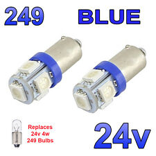 2 x Blue 24v LED Side Light 249 BA9s T4W 5 SMD Bayonet Bright Bulbs HGV Truck