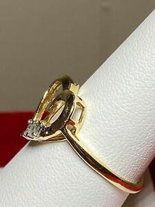Pretty Diamond Baguette Heart Ring - 10K Gold ring