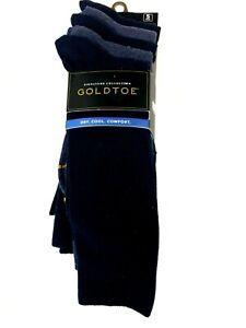 Signature Gold By GOLDTOE Mens Flat Knit Crew Socks 6-12.5 Blue 5 Pairs