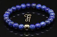 Lapislazuli 925er sterling Silber vergoldet Armband Bracelet Perlenarmband blau