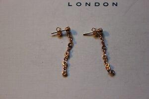 GENUINE LINKS OF LONDON 18 KT ROSE GOLD BELLA WHITE TOPAZ STILETTO EARRINGS