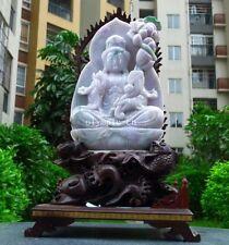 19'' Burma jadeite jade gemstone handwork carved lotus Avalokitesvara Guanyin