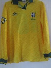 Brazil 1991-1993 Home Football Shirt Size Large Long Sleeves no 14 /41022