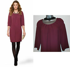 MONSOON Purple Plum Remy Knee Length 3/4 Sleeve Formal Casual Tunic Dress UK 8