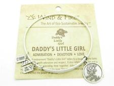 Wind and Fire Daddy's Little Girl Charm Wire Bangle Stackable Bracelet USA Gift