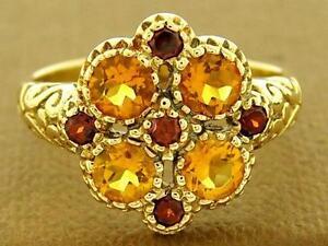 R107 Lovely GENUINE 9K Solid Gold NATURAL Garnet & Citrine Flower Ring size M