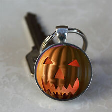 Evil Spooky Pumpkin Halloween Jack-o-Lantern Glass Dome Keychain (GDKC0526)