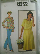 VTG Simplicity 8352 Raglan Sleeve Top or Dress Sewing Pattern Women Size 16/38