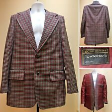 35d206767cc Vtg 70s JcPenney TOWNCRAFT Plaid Burgundy Retro Sport-Coat Disco Blazer L  UWC