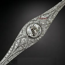 Vintage Art Deco Style 9.20MM Moissanite & Simulated Diamonds 925 Silver Bracelt