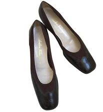 Salvatorre Ferragamo Brown Square Toe Tuxedo Low Heeled Shoes GUC SIZE 7 Euro 37