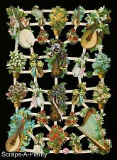 German Victorian Style Scrap Die Cut - Musical Instruments / Flowers  EF7319