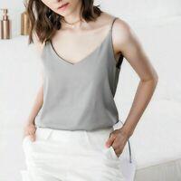 Ladies Faux Silk Vest Satin Tank Tops V-Neck Sling Sleeveless Blouse Solid Basic