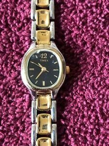 Beautiful Ladies Timex Silver/Gold Tone Dress/Casual Watch Stainless Steel Back
