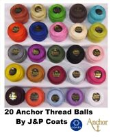 ANCHOR Pearl Cotton 20 Solid Crochet Balls Size No 8 Thread, 85 Meters each.