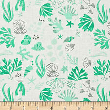 Under the Sea  Cotton Fabric Seashells Camelot Fabrics Off White  BTY BFab