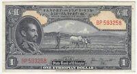 Ethiopia 1 Ethiopian Dollar, ND (1945), Haile Selassie, XF, P12a