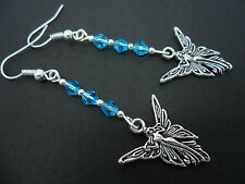 A PAIR OF DANGLY TIBETAN SILVER BLUE CRYSTAL   FAIRY ANGEL EARRINGS. NEW.