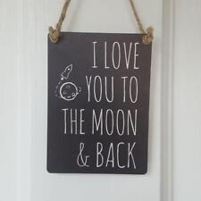 I LOVE YOU TO THE MOON & BACK MINI METAL CHIC N SHABBY BLACK SIGN
