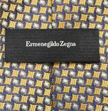 Ermenegildo Zegna CURRENT Yellow Gold Blue Geometric Silk Neck Tie