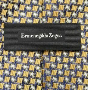 Ermenegildo Zegna CURRENT Yellow Gold Blue Geometric Silk Neck Tie