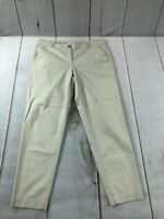 Talbots Womens Flat Front The Weekend Comfort Cream Chino Pants Size 10