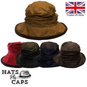Ladies British Waxed Cotton Cloche Diana Bush Hat Water Repellent Wax Rain