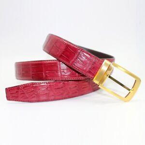 Mens Belt Genuine Crocodile Alligator Skin Leather Belt Handmade, Red #SB3009