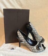 Louis Vuitton Blue Monogram Canvas Patent JUDY OPEN TOE PUMP Shoes 37.5, US 7.5