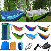 Portable Two Person Cotton Rope Hanging Hammock Swing Fabric Camping Outdoor Bed