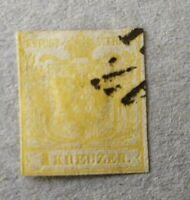 Österreich 1850 Nr. 1a, 1 Kreuzer gelb, gestempelt. o. Wz.