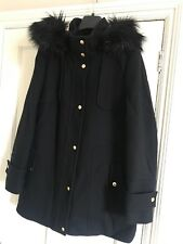Planet Woolen Coat With Fur Hoody Uk10