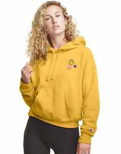Champion Women's Athletics Powerblend Relaxed Hoodie, Smiley Face Graphics