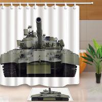 Green Military Tank Decor White Waterproof Bathroom Shower Curtain Rugs&12 Hooks