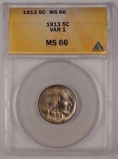 1913 Buffalo Nickel 5C Coin ANACS MS-66 VAR 1 Lightly Toned (1)